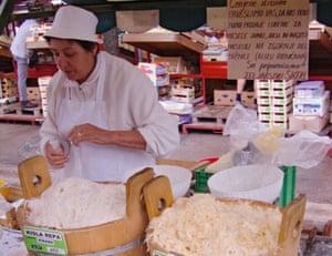 Sauerkraut vendor Ljubljana's central market.
