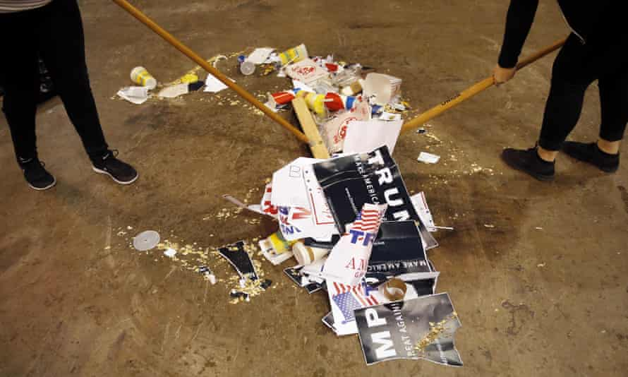 The debris of a cancelled rally for Trump on 11 March 2016 in Chicago.
