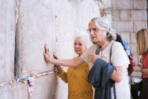 Jeffrey Tambor as Maura at Jerusalem's Western Wall.