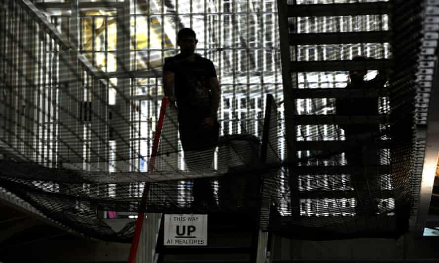 Guards inside Pentonville prison in London