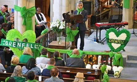 Sadiq Khan speaks at St Helens church.