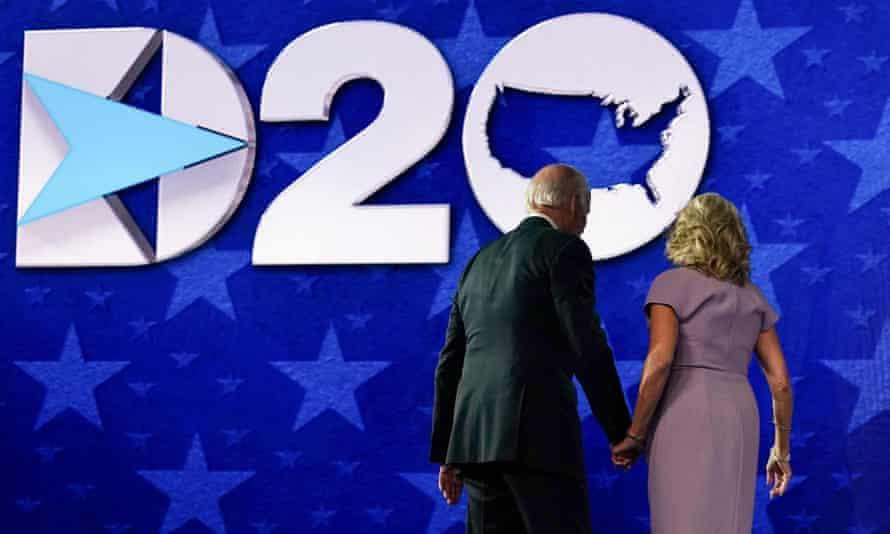 Joe and Jill Biden on stage following his speech.