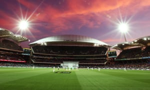 Pink skies for the pink ball above the Adelaide Oval.