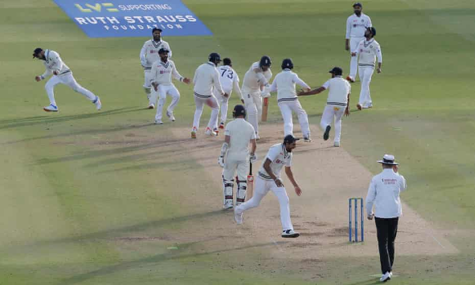 India show their jubilation at dismissing Jimmy Anderson to win the Lord's Test.