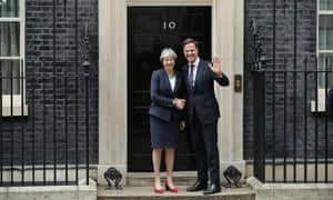 Theresa May shaking hands with the Dutch PM Mark Rutte outside Downing Street