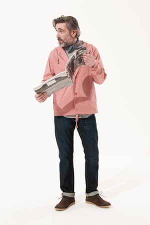 pink jacket Norse Projects, grey jumper crew neck New Look, blue scarf Asos, dark blue jeans Uniqlo, brown desert boots Dune