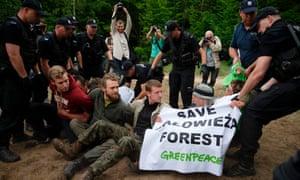Polish police remove Greenpeace activists blocking logging machines in Białowieża forest, Czerlonka, Poland.