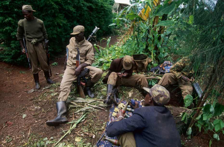 Tutsi rebels near Kigali during the civil war in Rwanda.