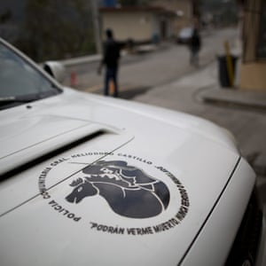 A FUPCEG vigilante vehicle bears the slogan: 'They could see me dead, but never surrendering nor humiliated', at the group's base in Filo de Caballos
