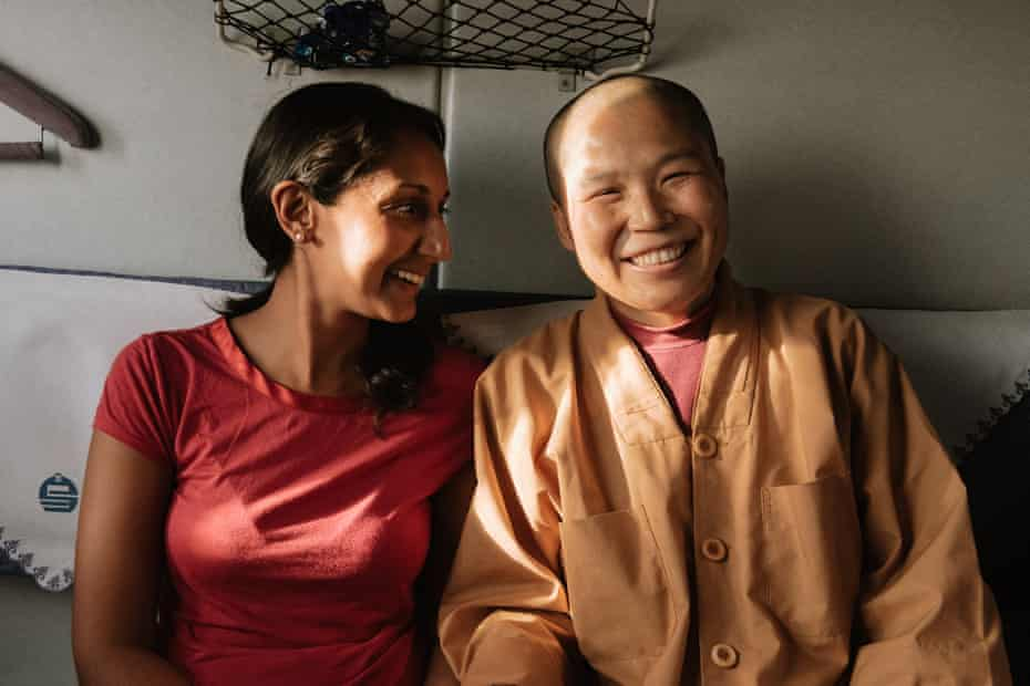 Only on a train … the writer chats to a Tibetan nun on a train in China.