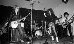 The Slits (from left: Viv Albertine, Palmolive, Ari Up and Tessa Pollitt) perform at the Electric Circus, Manchester, on 8 May 1977.