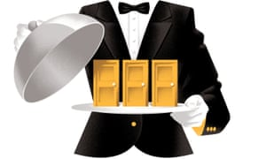 Illustration of a waiter with a plate offering a choice of doors