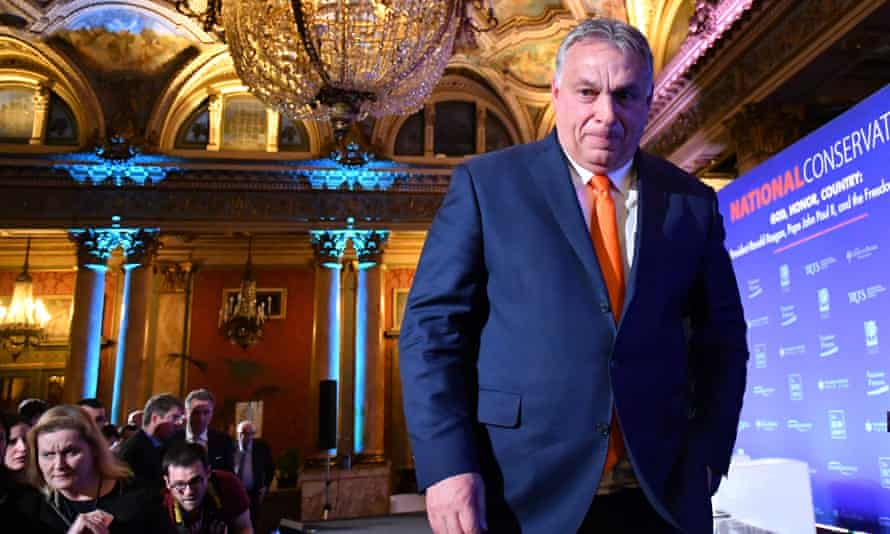 Viktor Orbán leaves the stage after addressing the National Conservatism conference of European far-right and sovereignist leaders last week.