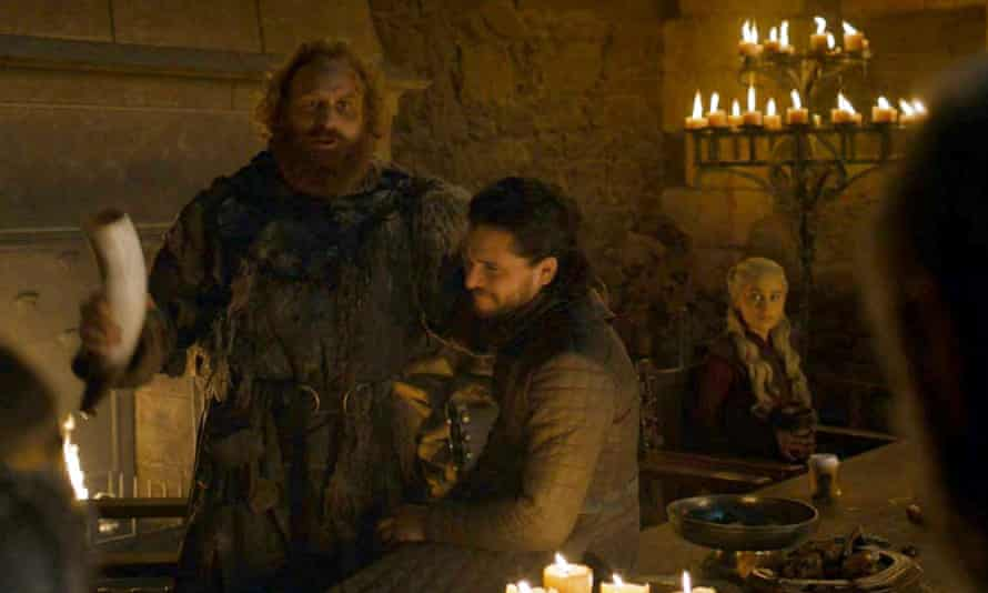 A still from The Last of the Starks shows the cup in front of Clarke's character Daenerys.