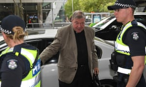 Cardinal George Pell arrives at Melbourne's magistrate's court on Wednesday.