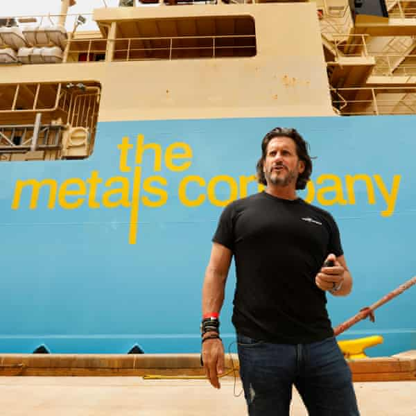 Gerard Barron, chair and chief executive of The Metals Company, in front of a company exploration ship
