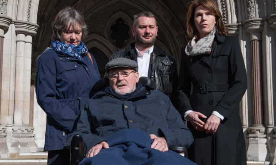 Noel Conway outside the Royal Courts of Justice with his wife Carol (left), stepson Terry McCusker and Sarah Wootton of Dignity in Dying