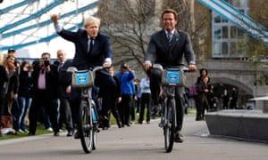 Boris Johnson and Arnold Schwarzenegger on 'Boris bikes'