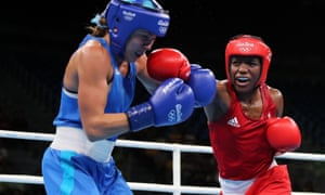 Team GB's Nicola Adams throws a punch towards Ukraine's Tetyana Kob during the Olympic women's flyweight quarter-finals in Rio.