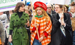 Gemma Arterton, Paloma Faith and Laura Pankhurst, Emmeline Pankhurst's great-great-granddaughter, march in central London, 8 March 2015