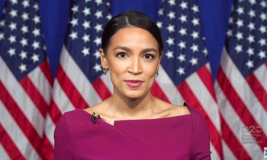 Alexandria Ocasio-Cortez speaking virtually from Washington during the second day of the convention on Tuesday.