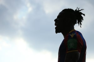Wilfred Zaha, laughing upon the final whistle.