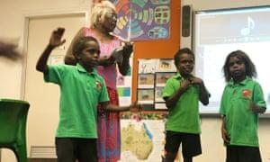 Indigenous children in class at the Numbulwar school in eastern Arnhem Land.