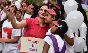 Students in New Delhi participate in a rally on World Menstrual Day.
