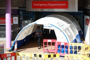 The entrance to the Emergency Department at Royal Surrey county hospital the day after the UK was put on lockdown.