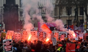 Student protest in London – banners and flares