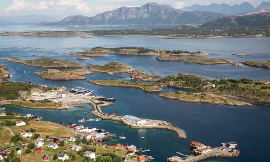 Aerial view of the fjords around Bodø, Norway