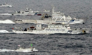 Japan's coast guard shadows a Chinese  marine surveillance ship in the East China Sea in this 2013 image