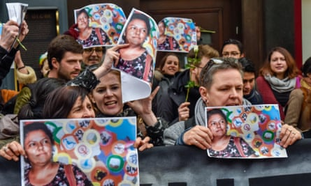 People at the vigil for environmental activist Berta Caceres.