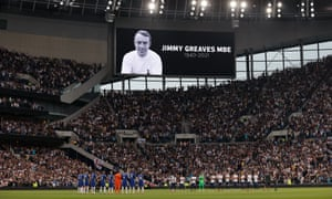 A tribute to former player Jimmy Greaves, who died recently, before the Premier League match between Tottenham Hotspur and Chelsea at the Tottenham Hotspur Stadium on September 19th 2021 in London (Photo by Tom Jenkins)