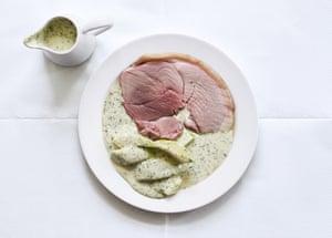 Ham, marrow and parsley sauce.