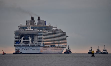 The Harmony of the Seas cruise ship leaves the STX shipyard of Saint-Nazaire.