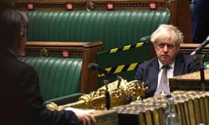 Boris Johnson in the Commons listening to Jonathan Ashworth in November last year.