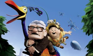 Animated characters pensioner Carl Fredricksen and a boy, Russell, flying through the air holding onto a giant bird in the film Up