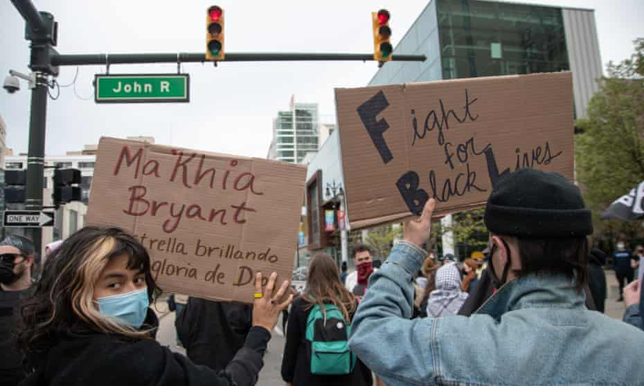 Activists call for justice for Ma'Khia Bryant in Detroit on 1 May.
