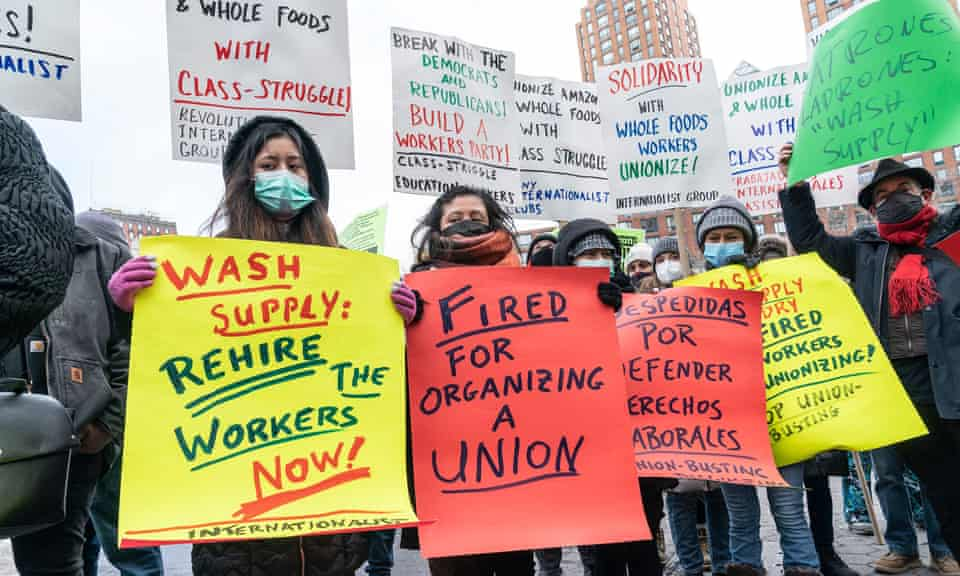 People rally in support of Alabama Amazon workers in New York on 20 February.