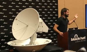 Ruben Santamarta of IOActive with a hackable satellite antenna.