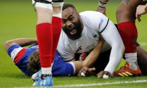 Fiji's Semi Radradra celebrates after scoring a try in the shock victory over France in Paris on Saturday.