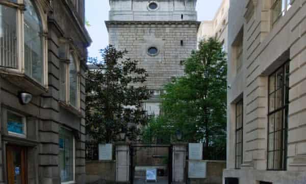 St Bride's church off Fleet Street in London