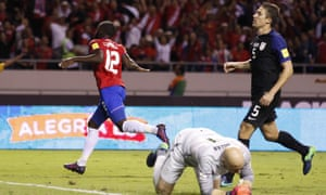 Joel Campbell wheels away after scoring the first of his two goals.