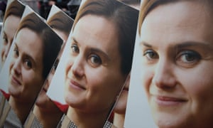 Poster boards showing a photograph of Jo Cox