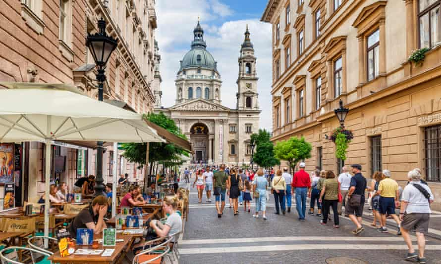 Central Budapest, looking towards the Basilica of St Stephen.