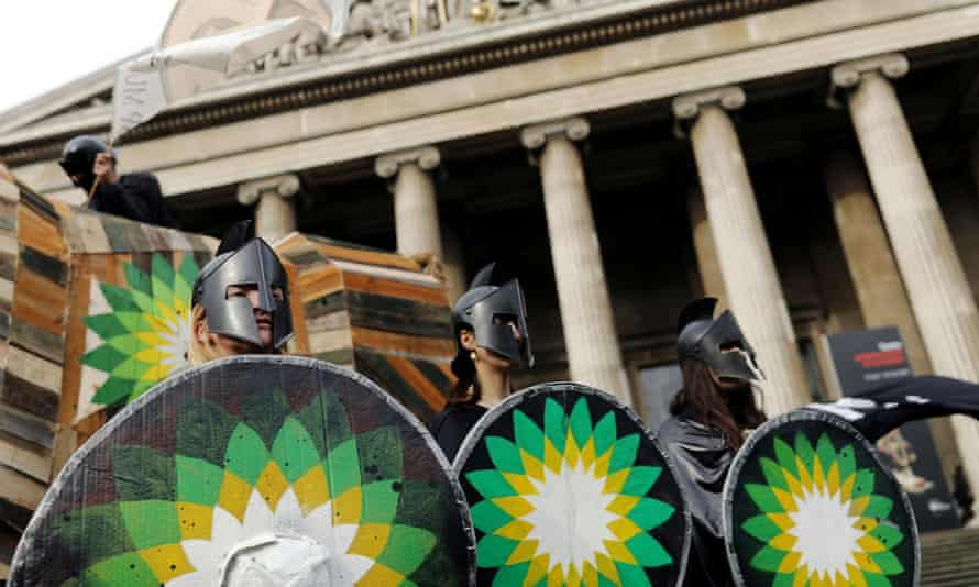 Climate change activists demonstrate against BP outside the British Museum in February 2020.