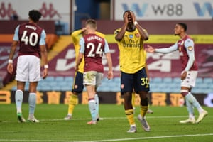 Eddie Nketiah shows his frustration after his header came back off the post.