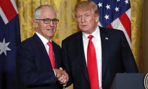 Malcolm Turnbull and Donald Trump shake hands