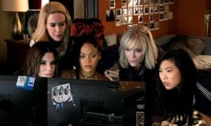Vault face: Sandra Bullock, Sarah Paulson, Rihanna, Cate Blanchett and Awkwafina in Ocean's Eight.
